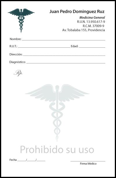 recetario para medico caduceo verde